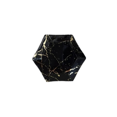 Noir - Black Marble Mini Plate (Set of 8)-The Wedding Haus