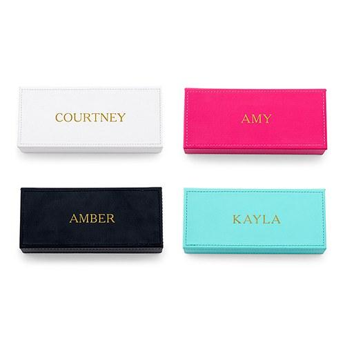 Personalized Faux Leather Jewelry Keepsake Box - Custom Emboss-The Wedding Haus