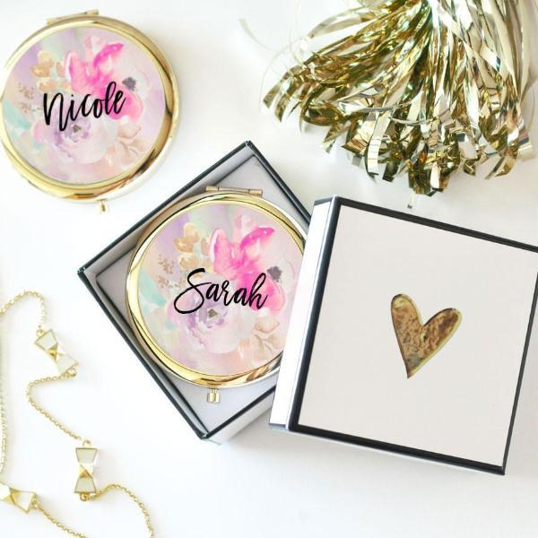 Personalized Floral Compacts-The Wedding Haus