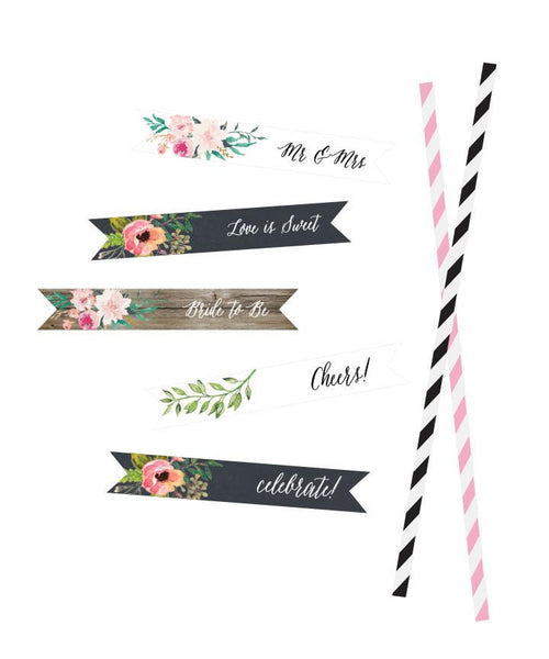 Personalized Floral Garden Flag Labels (Set of 20)-The Wedding Haus