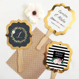 Personalized Floral Garden Gold Paddle Fans (Set of 24)-The Wedding Haus