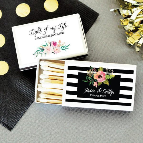 Personalized Floral Garden Match Boxes (Set of 50)-The Wedding Haus