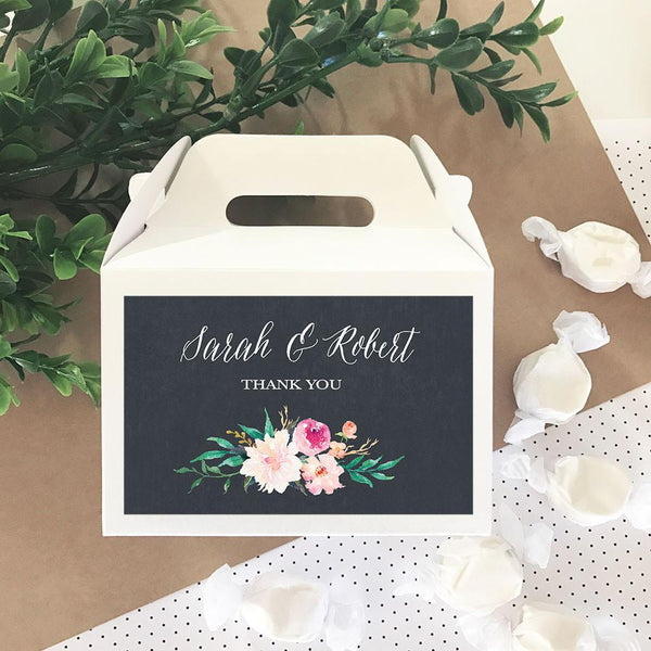 Personalized Floral Garden Mini Gable Boxes (Set of 24)-The Wedding Haus