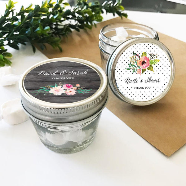 Personalized Floral Garden Small 4oz Mason Jars (Set of 24)-The Wedding Haus