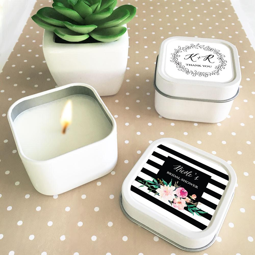 Personalized Floral Garden Square Candle Tins (Set of 24) – The ...