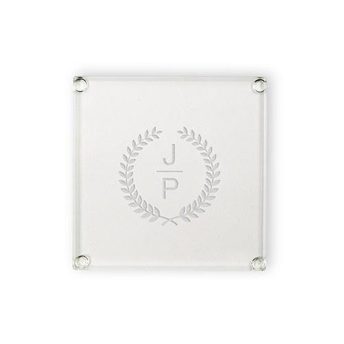 Personalized Glass Coasters - Stacked Monogram With Leaf Crest-The Wedding Haus