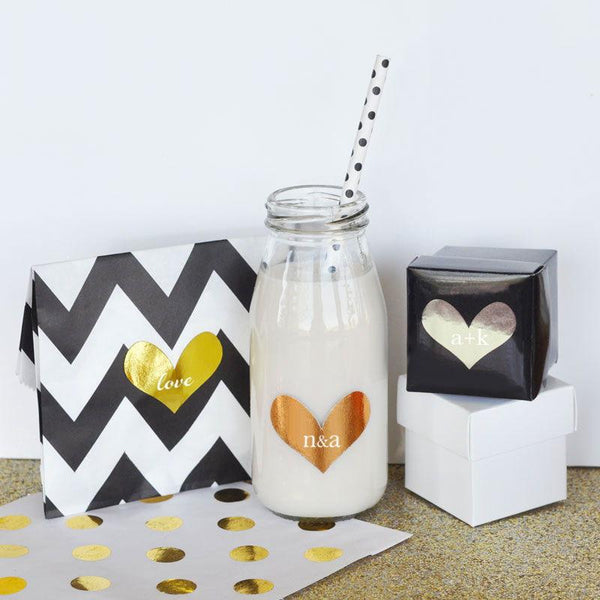 Personalized Gold & Silver Foil Heart Stickers (Set of 24)-The Wedding Haus