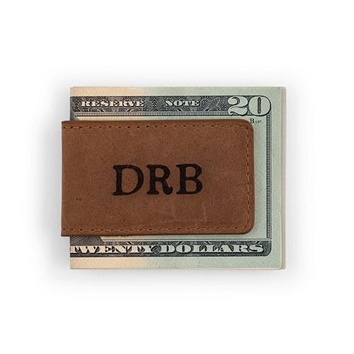 Personalized Leather Magnetic Money Clip-The Wedding Haus