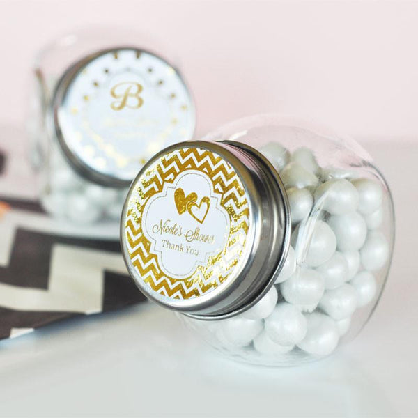 Personalized Metallic Foil Candy Jars - Wedding (Set of 24)-The Wedding Haus
