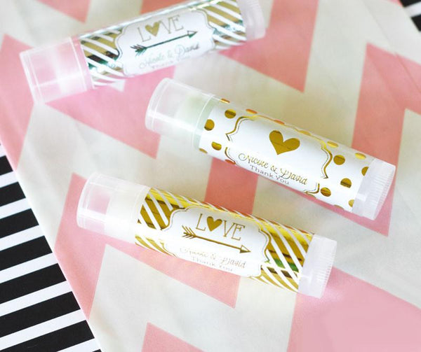 Personalized Metallic Foil Lip Balm Tubes - Wedding (Set of 24)-The Wedding Haus