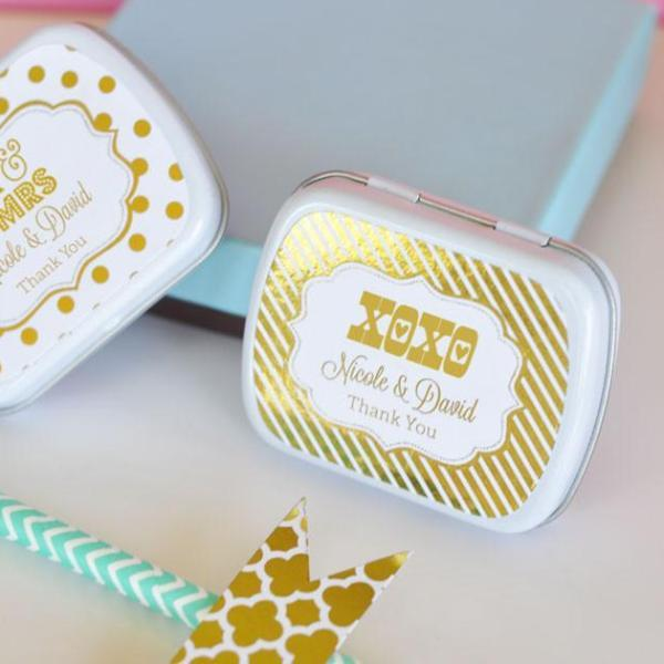 Personalized Metallic Foil Mint Tins - Wedding (Set of 24)-The Wedding Haus