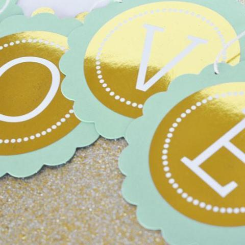 Personalized Metallic Foil Scallop Banner - Wedding-The Wedding Haus
