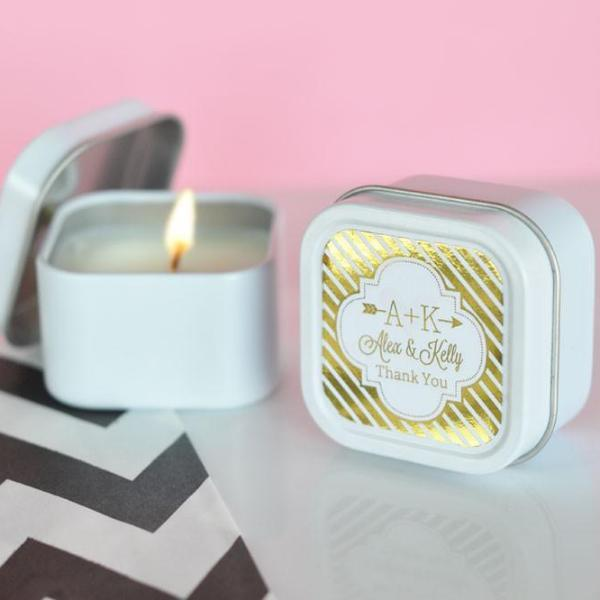 Personalized Metallic Foil Square Candle Tins - Wedding (Set of 24)-The Wedding Haus