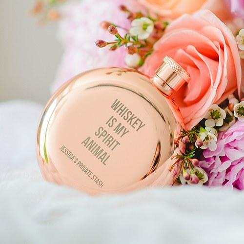 "Personalized Rose Gold Hip Flask ""Is My Spirit Animal"" Etching-The Wedding Haus"