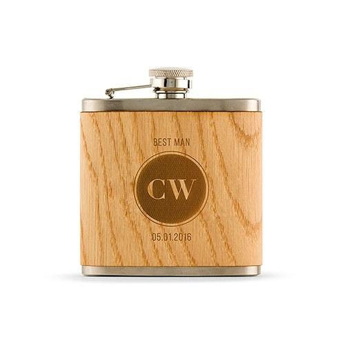 Personalized Wood Flask - Etched Circle Monogram-The Wedding Haus