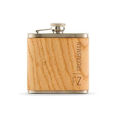 Personalized Wood Flask For Groomsman - Vertical Text-The Wedding Haus