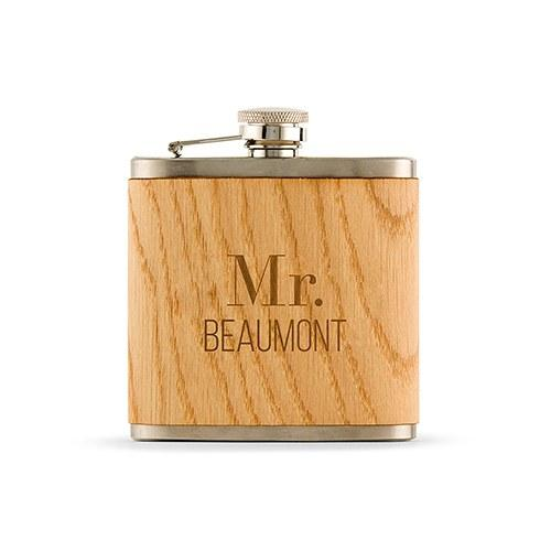 Personalized Wood Wrapped Flask - Modern Text-The Wedding Haus