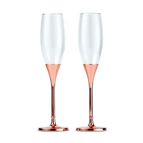 Rose Gold Champagne Glasses With Rhinestone Crystals (Set of 2)-The Wedding Haus