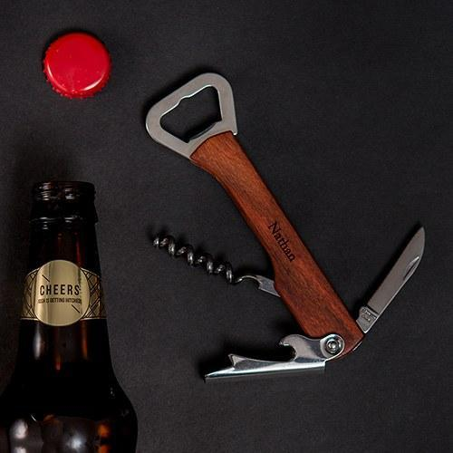 Rose Wood Handle Cork Screw And Bottle Cap Tool-The Wedding Haus