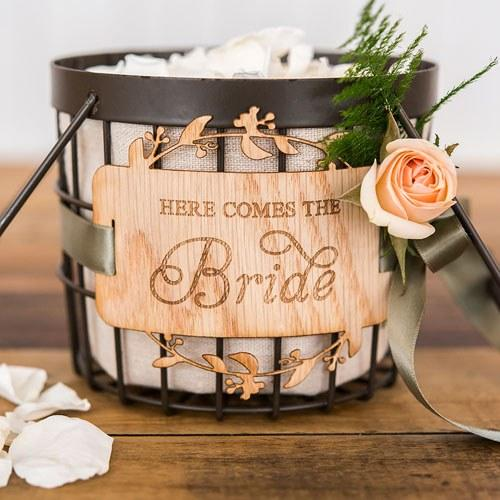 Rustic Wire Flower Basket With Fabric Liner-The Wedding Haus