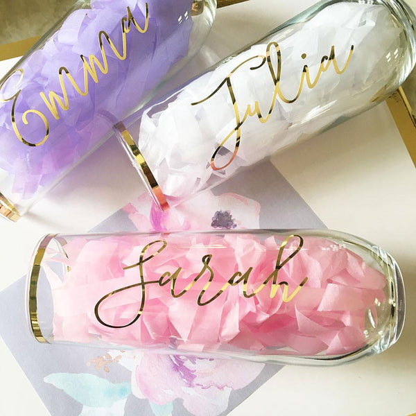 Script Stemless Glasses-The Wedding Haus