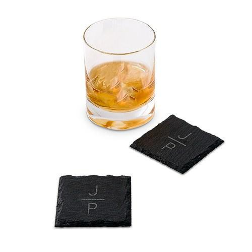 Set Of Square Slate Coasters - Stacked Monogram Etching-The Wedding Haus