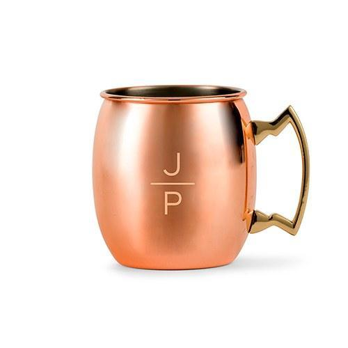 Stacked Monogram Copper Moscow Mule Mug-The Wedding Haus