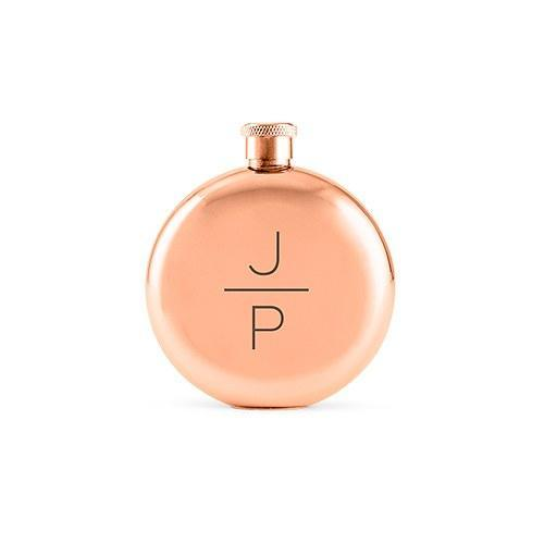 Stacked Monogram Rose Gold Hip Flask-The Wedding Haus