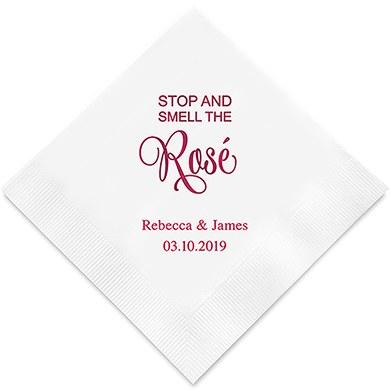 Stop And Smell The Rosé Printed Paper Napkins (Sets of 80-100)-The Wedding Haus