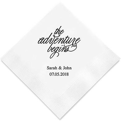The Adventure Begins Printed Paper Napkins (Sets of 80-100)-The Wedding Haus