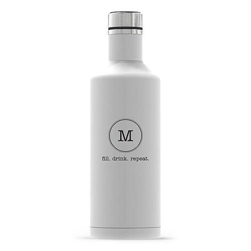 Times Square Travel Bottle - Matte White Typewriter Monogram Printing-The Wedding Haus
