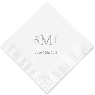Traditional Monogram Printed Paper Napkins (Sets of 80-100)-The Wedding Haus