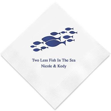 Two Less Fish in the Sea Printed Paper Napkins (Sets of 80-100)-The Wedding Haus