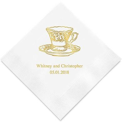 Vintage Tea Cup Printed Paper Napkins (Sets of 80-100)-The Wedding Haus