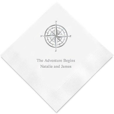 Vintage Travel Compass Printed Paper Napkins (Sets of 80-100)-The Wedding Haus