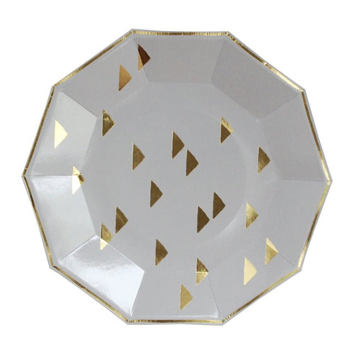 Wander - Gold Triangles Decagon Large Party Plates (Set of 8)-The Wedding Haus