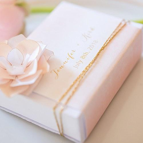 White Favor Box With Personalized Aqueous Wrap (Set of 8)-The Wedding Haus