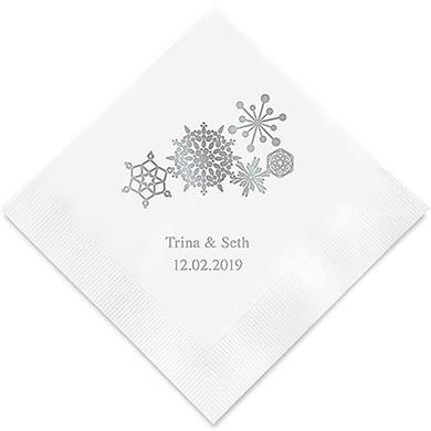 Winter Finery Snowflake Printed Paper Napkins (Sets of 80-100)-The Wedding Haus