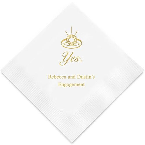 Yes To The Ring Printed Paper Napkins (Sets of 80-100)-The Wedding Haus