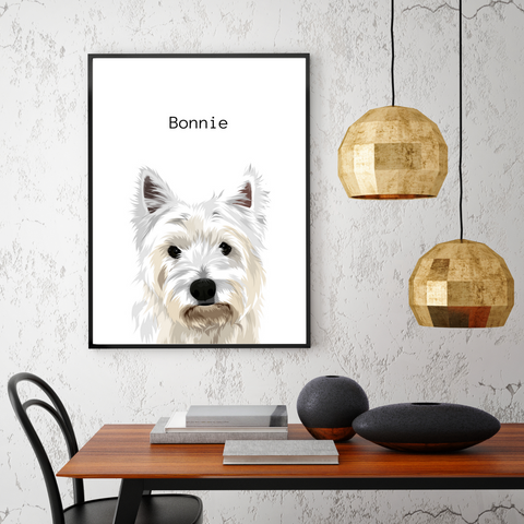 Framed Pet Portrait - Black Frame