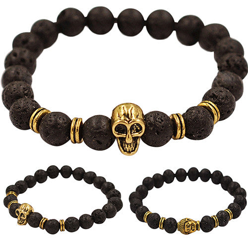 Skull or Buddha Charm Black Lava Rock