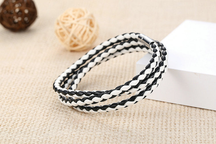 Leather Bracelet Adjustable Chain B&W