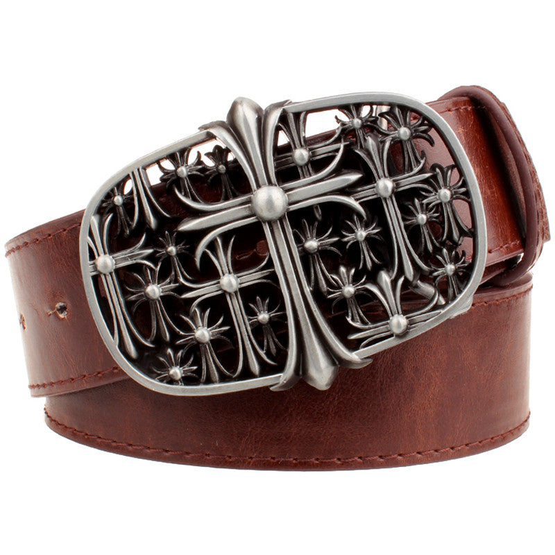 Chrome / Stainless Floral Cross Belt Buckle