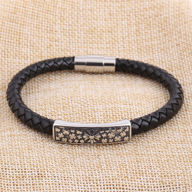 Stainless Steel Floral Cross Leather Bracelet