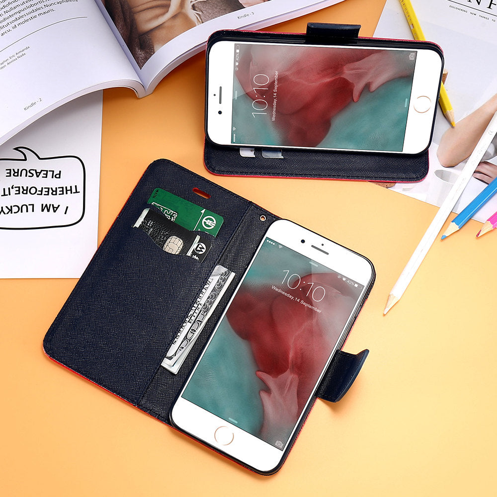 Leather Stand Wallet / Card Slot Flip Case For iPhone