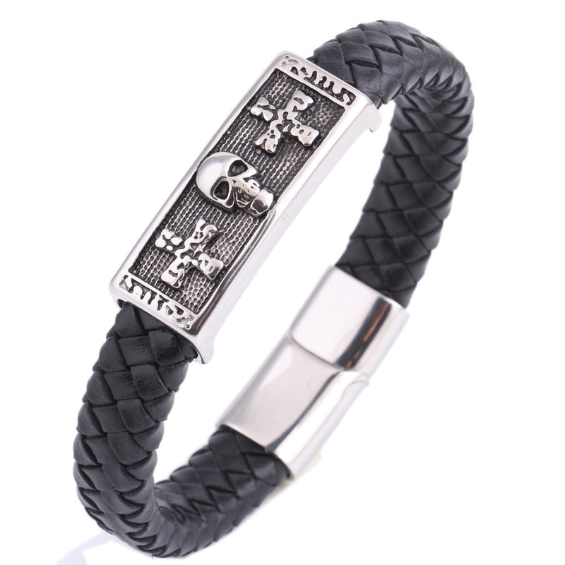 Genuine Leather Bracelet Men Stainless Steel  With Cross and Skull Charm
