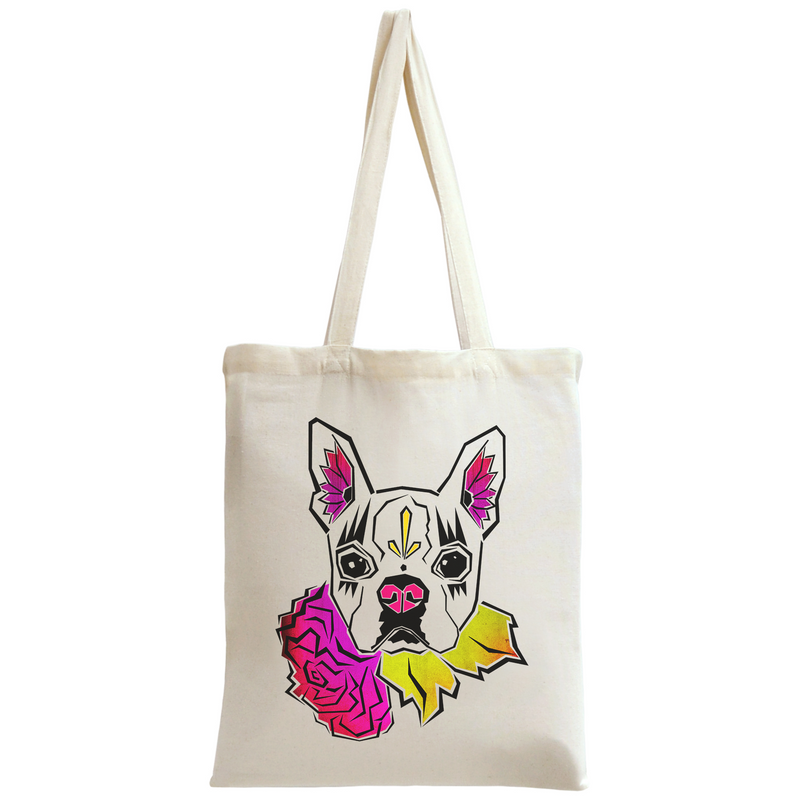 Sugar Skull Boston Terrier Tote Bag