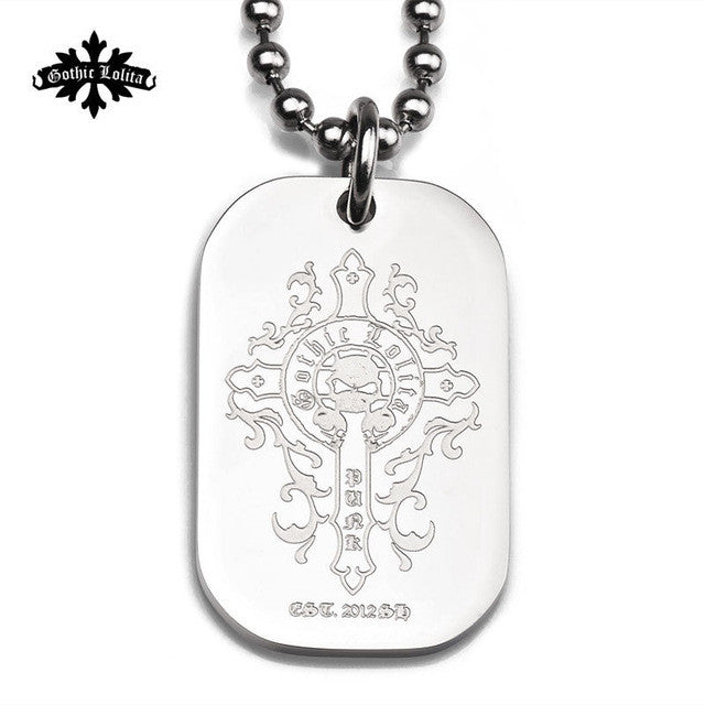 StainlessDog Tag Floral Cross Knecklace