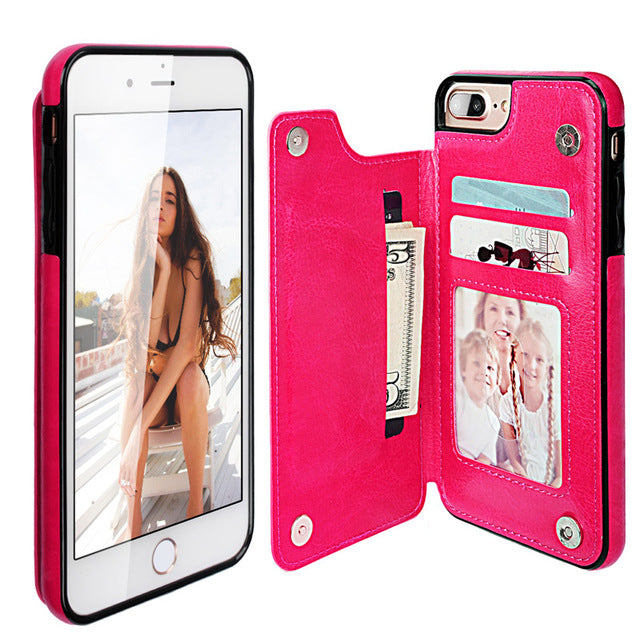 Leather Flip Card For iPhone 6/6s Both Sizes