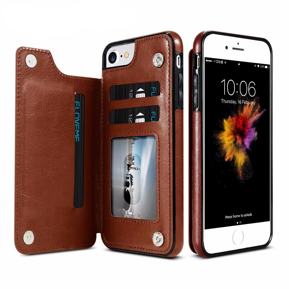 Leather Snap Back Wallet Case for iPhone